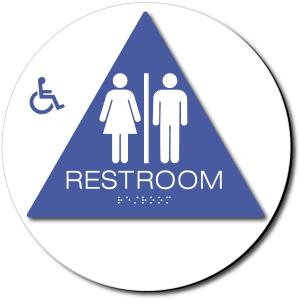 California Unisex Accessible RESTROOM Door Sign - Styrene