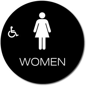 California WOMEN Accessible Restroom Door Sign