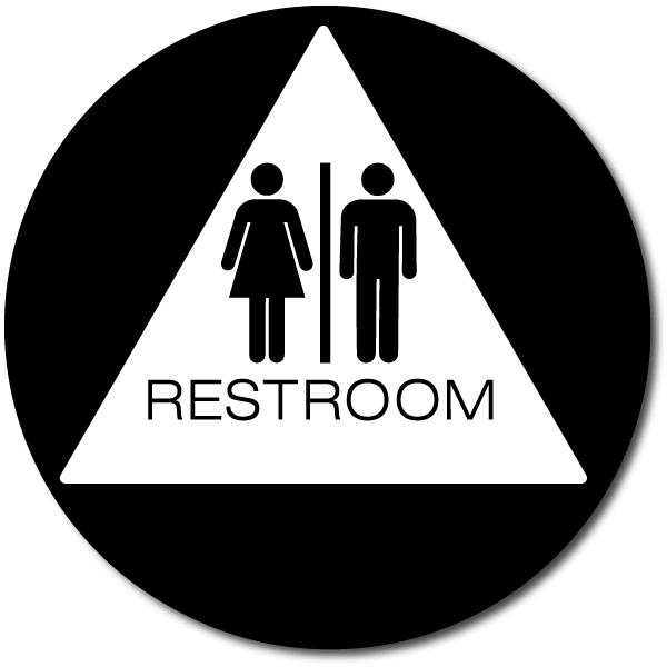 California All Gender Restroom Door Sign Gray//White