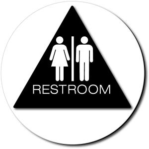 California Unisex RESTROOM Door Sign - Color Reverse