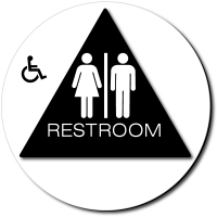 California Unisex Accessible RESTROOM Door Sign - Color Reverse