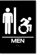 MEN Speedy Wheelchair Restroom Sign - NY/CT