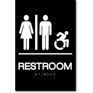 Unisex RESTROOM Speedy Wheelchair Sign - NY/CT