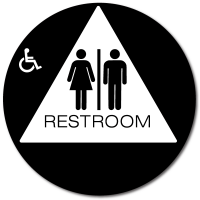 California Unisex Accessible RESTROOM Door Sign