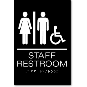 Unisex STAFF RESTROOM Accessible Sign