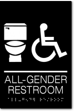 California ALL GENDER RESTROOM Accessible Toilet Wall Sign