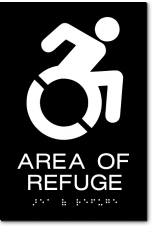 AREA OF REFUGE Speedy Wheelchair Sign - NY/CT