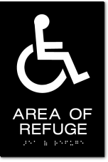 AREA OF REFUGE Wheelchair Sign