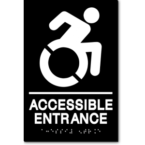 ACCESSIBLE ENTRANCE Speedy Wheelchair Sign - NY/CT