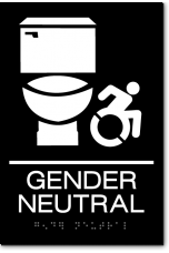 GENDER NEUTRAL ACCESSIBLE RESTROOM Speedy Wheelchair Sign - NY/CT