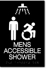 MENS ACCESSIBLE SHOWER Speedy Wheelchair Sign - NY/CT
